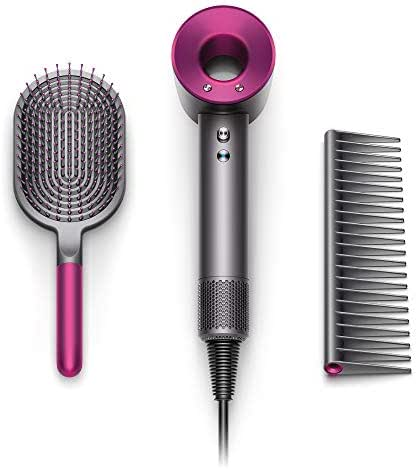 Dyson Supersonic Hair Dryer Special Edition-Complimentary Gift Set Designed Paddle Brush and Comb, Iron/Fuchsia (w)