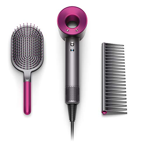 Dyson Supersonic Hair Dryer Special Edition Gift Set Designed Paddle Brush and Comb, Iron/Fuchsia ()