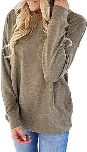 Women Solid Color Round Neck Casual Loose Long Sleeve Sweatshirt T-Shirts Tops with Pockets S-XXL
