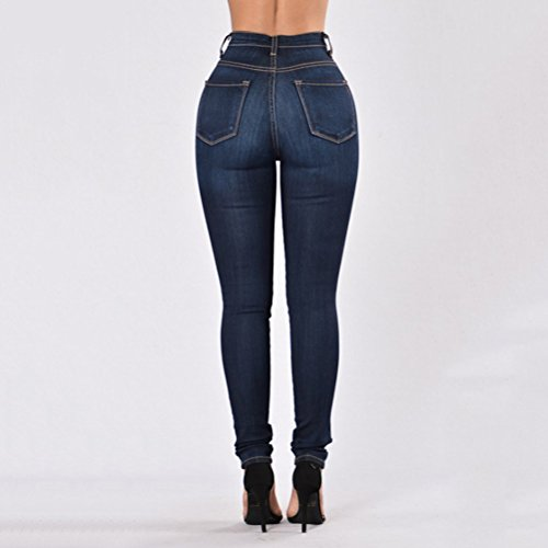 Zhhlaixing Donna Jeans Classic High For Dark Comode Elasticizzati Skinny Taglie Stretch Xxxl Blue Washed Strappati 7nBrw7aqH