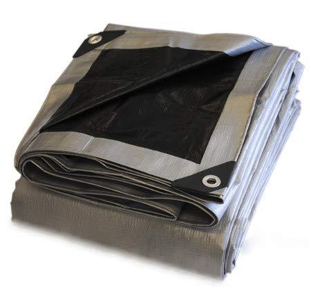 30x50 Heavy Duty Silver/Black Poly Tarp - 10.5 mil - 14x14 Weave - 100% Waterproof