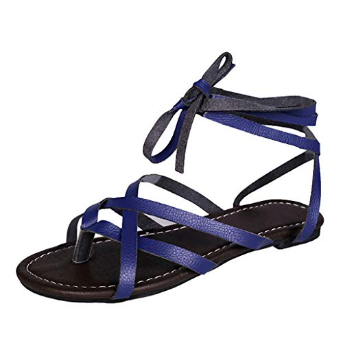 YKARITIANNA Women's Summer Lace-Up Flat Solid Color Open Toe Breathable Sandals Rome Shoes 2019 Summer Blue (Best Pizza In Rome 2019)