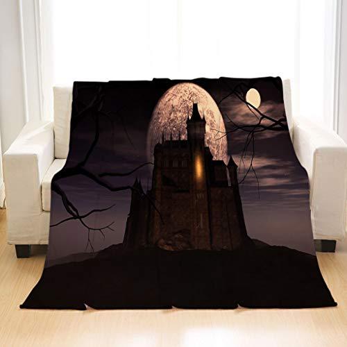 BEIVIVI Super Soft Warm Cozy Blanket 3D Halloween Background with Spooky Castle Super-Soft, Wrinkle-Resistant Blankets]()