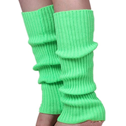 Unisex-Adult Solid color knit Leg Warmers boot cuff (Fluorescent Green) (Adult Leg Warmers)