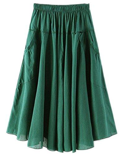 Vert de Longueur Taille Style Femmes Bohme de Mi lastique Bande Fonc Jupe vwdgvU4q