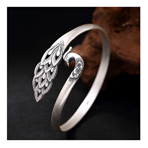 Whiteswallow Women's Bangle 925 Sterling Silver Phoenix Bracelet Jewelry