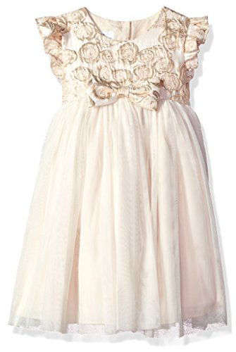 Price comparison product image Laura Ashley London Little Girls' Special Tutu Party Dress, Beige/Gold Bow, 6X
