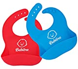 Babiere Soft Silicone Bib – Large Crumb Catcher Stays Open – Waterproof Bib Easily Cleans – Adjustable Snaps Fit Infants and Toddlers – FREE Silicone Baby Feeding Spoon – Blue and Red – Set of 2