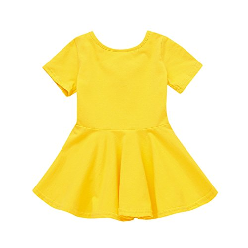 FEITONG Baby Girls Candy Color Short Sleeve Solid Princess Casual Toddler Kids Dress(12-18M,Yellow) for $<!--$5.47-->