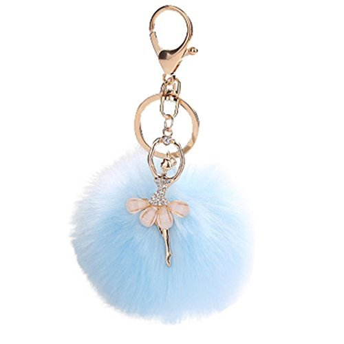 Lisin key chain,8CM Cute Dancing Angel Keychain Pendant Women Key Ring Holder Pompoms Key Chains (Sky Blue)