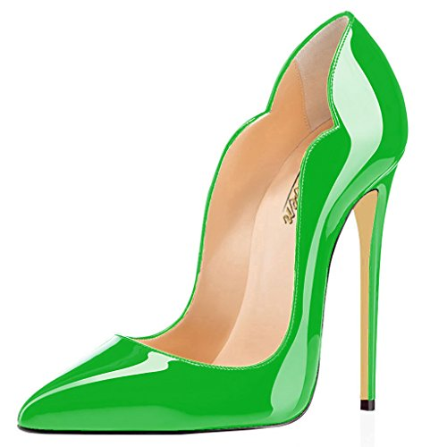 Modemoven Womens Green Sexy Point Toe High Heels Patent Leather Pumps Wedding Dress Shoes Cute Evening Stilettos   8 5 M Us