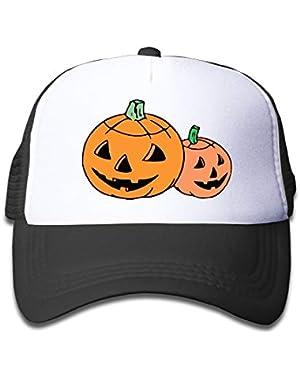 Pumpkin Halloween On Children's Trucker Hat, Youth Toddler Mesh Hats Baseball Cap