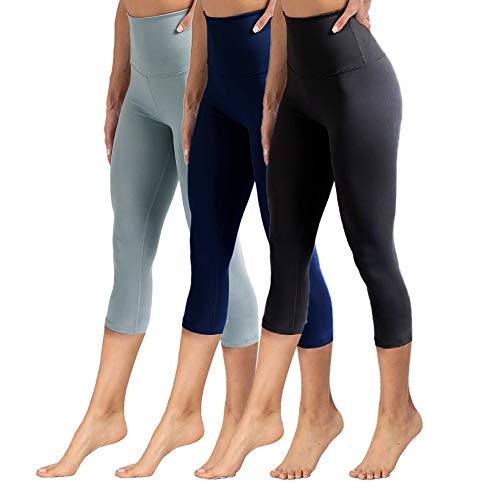 - High Waisted Capri Leggings for Women Tummy Control Soft Opaque Slim Pants for Cycling, Yoga, Running