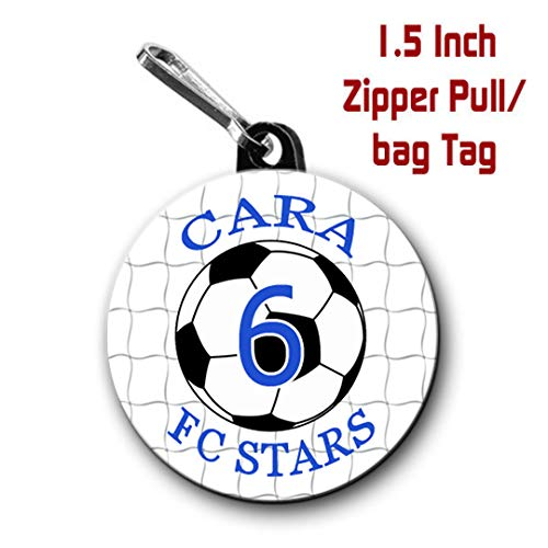 Personalized Soccer Zipper Pulls/Bag Tags 2-Pack 1.5 inch Charms -