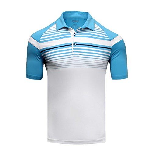 Kayiyasu ポロシャツ メンズ ゴルフウェア UVカット ゴルフシャツ オシャレ スポーツシャツ 男性用 半袖 Tシャツ 運動着 日焼け止め 021-xsty-yf123(XXL ブルー)