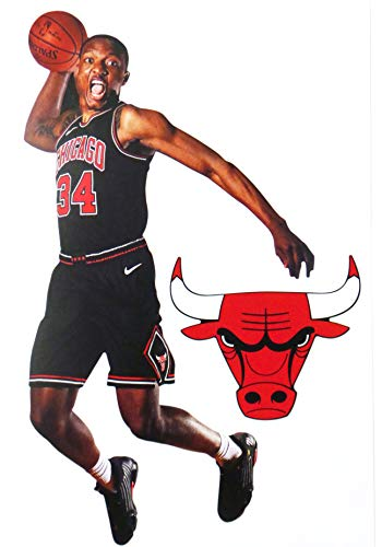 FATHEAD Wendell Carter Jr. Mini Graphic + Chicago Bulls Logo Official NBA Vinyl Wall Graphics - This Graphic is 7