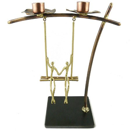 Lovers on a Swing Metal Candle Holder, Handcrafted in Brass by Modern Artisans (Image #6)
