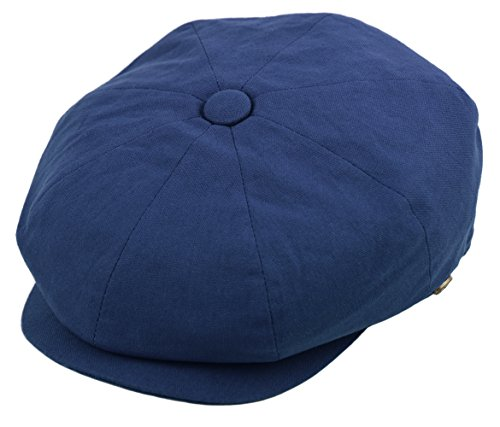 [Deewang Mens Newsboy Cotton Driving Cap, Light Weight Cabbie, Applejack Cap (Large, Navy)] (Mens Tweed Caps)
