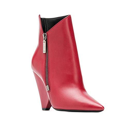 Saint Laurent Women's Leather Niki Booties Hot Red