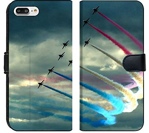 Apple iPhone 7 Plus Flip Fabric Wallet Case Image of Blue air Sky Smoke Flying Jet Wing Aviation Airplane Fly red Flight Show Formation Plane