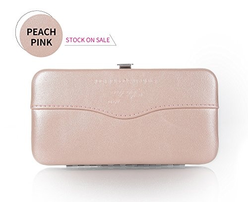 Small Travel Makeup Bag for Eyelash Tools Portable Cosmetic Bag Tweezers Brush Case Storage Bag for Women Girls 9 Colors by Yelix(Peach Pink)
