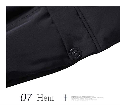 Dark Grey YXP Mens Winter Hooded Coats Thickened Cotton Parkas Windproof Outdoor Jackets