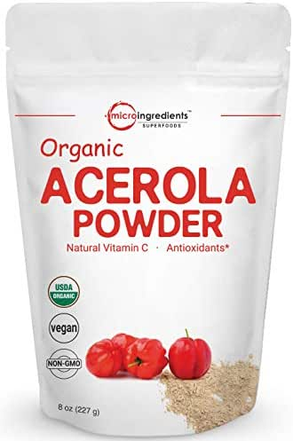 Pure Acerola Cherry Powder Organic, Natural and Organic Vitamin C Powder, 8 Ounce, Best Superfoods for Beverage, Smoothie and Drinks, No GMOs and Vegan Friendly