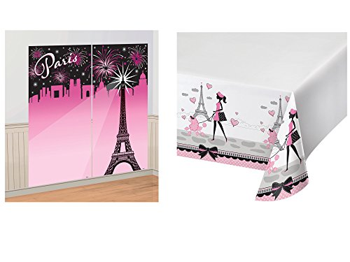 Set of 2 Amscan A Day in Paris Scene Setter and Creative Converting Border Print Plastic Tablecover, 54 x 102 bundled by Maven Gifts by Amscan-Party