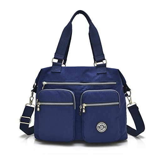 Nylon Crossbody Tote Handbags for Women Leisure Lightweight Messenger Bag Shoulder Bag with Lots of Pockets (Deep Blue)