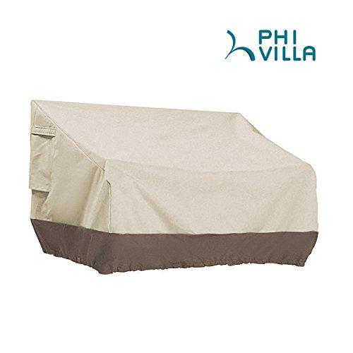 PHI VILLA Patio Bench Cover-Outdoor Loveseat Lounge Cover Water Proof and UV Resistant, Medium (Seat Covers Bench Outdoor)