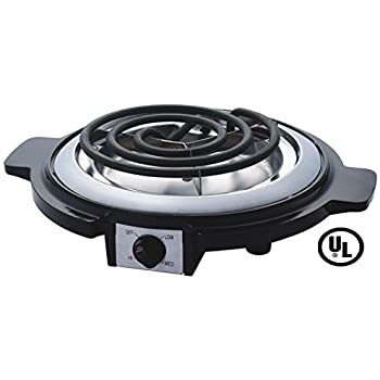 Eleganceinlife Single Burner Electric Hot Plate Black Single Counter Burner 1000 Watt Stainless Steel Body UL Approved