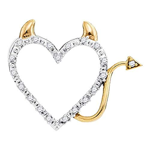 Roy Rose Jewelry Womens Round Diamond Devil Horn Naughty Heart Pendant 1/20-Carat tw, in 10K White Gold from ()