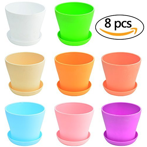 Wobe 8pcs Mini Plastic Flower Seedlings Nursery Pot Planter, 4 Flower Pots with Pallet Colorful Flower Plant Container Seed Starting Pots with Saucer 8 Colors Round Lightweight Washable Gardening