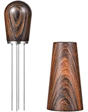 Runtodo Espresso Coffee Stirrer, Coffee Stirring Tool for Espresso Distribution, Natural Wood Handle and Stand,Dark brown