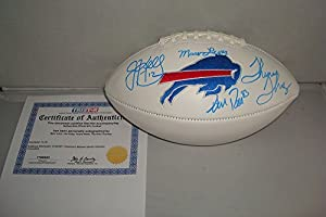 Jim Kelly, Andre Reed, Thurman Thomas, Marv Levy Signd Buffalo Bills Full Sized Logo Football, Tristar Authentic