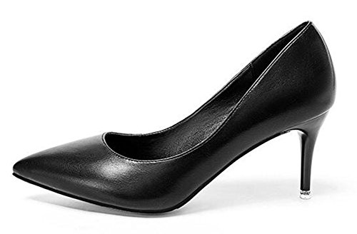 CHFSO Womens Sexy Stiletto Solid Pointed Toe Slip On Low Top Mid Heel Wedding Pumps Black tHjTo