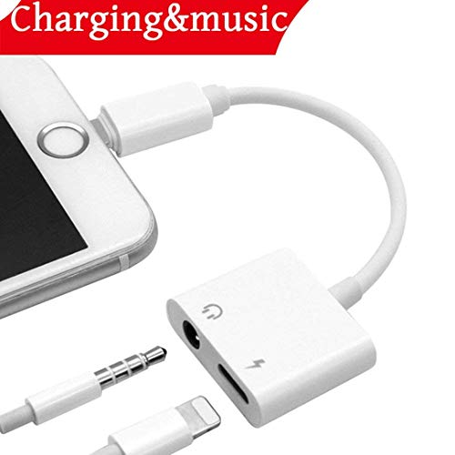 Headphone Adapter for iPhone Adapter 2 in 1 Charger Adapter 3.5mm Jack Convertor Headset Adaptor Earphone Cables Female Music Stereo Extender Earpiece Aux with for iPhone 7 8 X for iOS 10.3 or Later