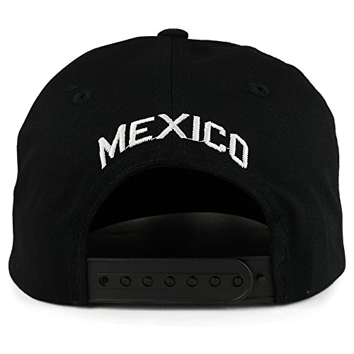 Trendy Apparel Shop Hecho En Mexico Eagle 3D Embroidered Flat Bill Snapback Cap - Black White by Trendy Apparel Shop (Image #2)