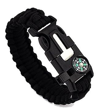 Lot de 2 bracelets de survie para avec sifflet, grattoir, et allume-feu - Pour extérieur, noir et vert.