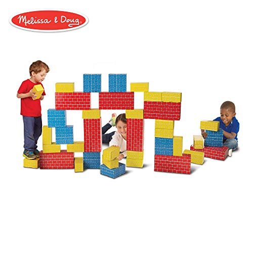 (Melissa & Doug Deluxe Jumbo Cardboard Blocks (Developmental Toy, Extra-Thick Cardboard Construction, 40 Pieces, 12.5″ H × 7″ W × 19″ L) (Renewed) )