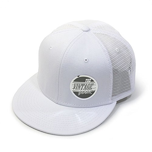 Vintage Year Plain Cotton Twill Flat Brim Mesh Adjustable Snapback Trucker Baseball Cap (White) ()