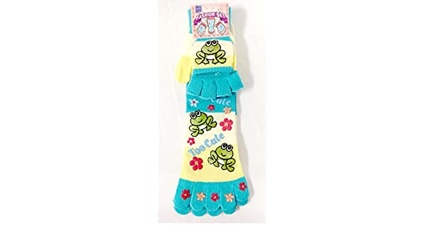 Frogs Blue Yellow Too Cute Striped Toe Socks Fingerless Mittens Set Child 9-11