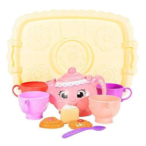 FunsLane Tea Party Set for Preschool Kids, Plastic Teapot and Teacups Tea Set for Kids Pretend