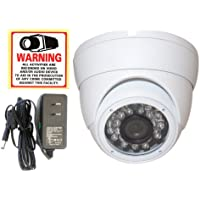 Evertech Cctv Security Camera - 700 TVL, Day Night Vision Ir Vandal Proof Indoor/outdoor 1/3 Sony Super HAD Ccd, 90 Degree Wide Angle Lens, 23-24 Infrared Leds with Warning Sticker 1 Amp Adapter