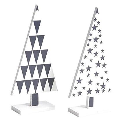 Immagini Natale In Bianco E Nero.Lot 2 Alberi Di Legno Laccato Bianco E Nero Decorazione Di