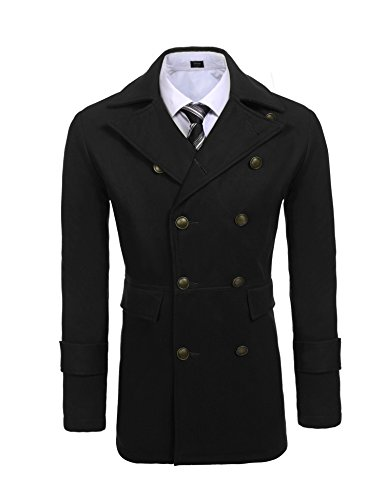 COOFANDY Mens Winter Long Double Breasted Notched Collar Duffle Trench Pea (Double Breasted Notched Collar Peacoat)