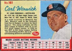 1962 post cereal (Baseball) Card# 161 carl warwick of the St. Louis Cardinals VGX Condition