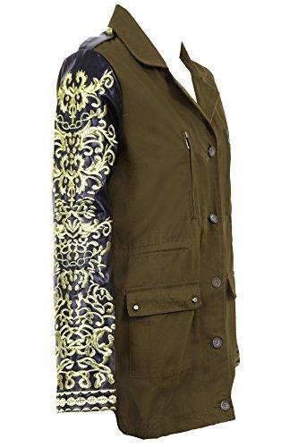 Fantasia Boutique Damen PVC Gold Bestickt Langärmlig Khaki Damen Mantel  Twhwxi ...