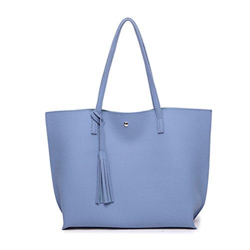 de Grand PU Femme Fourre ZHRUI Cuir Tout Bleu Simili Souple Main à Sac Cours en Sac Cabas Capacité Grand Shopping wq7qa6