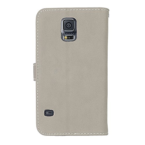 Premium Retro Neo Galaxy Case Samsung Case Magnetic Case PU BONROY S5 Card Slots Flip and Leather 9 Case S5 Galaxy Leather S5 Neo Stand Cash with S5 Wa Phone gray Holder Slot Wallet Galaxy Flip Card 7wBBz1